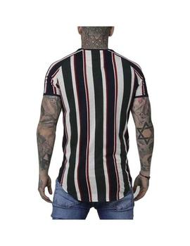 Camiseta SikSilk A/W Stripe Gym Wht/Gree