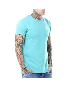 Camiseta Siksilk Peached Box Tee Aqua Teal Hombre