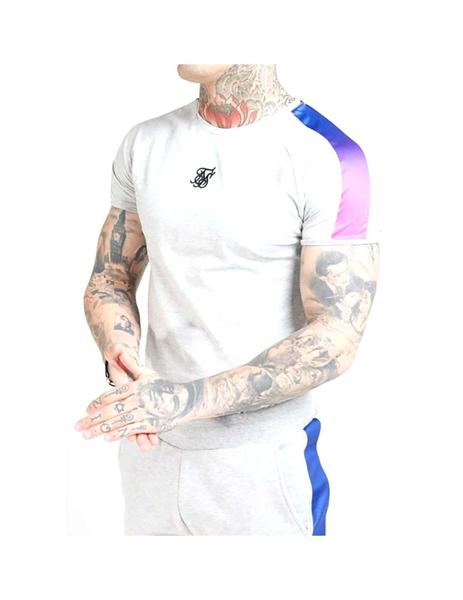 Camiseta SikSilk S/S Marl Fade Panel Tech Grey Mar