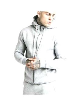 Chaqueta SikSilk Zip Core Funnel Neck Grey Hombre