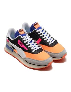 Zapatillas Puma Future Rider Play On Black/Orange Mujer